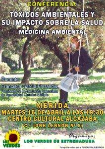 Los Verdes organiza en Mérida una conferencia sobre tóxicos ambientales y su impacto sobre la salud